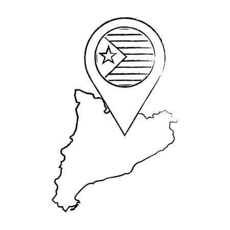 Escudo de catalunya y contorno del país con diseño de ilustración de vector de imagen de icono de pin gps Foto de archivo - 90402104