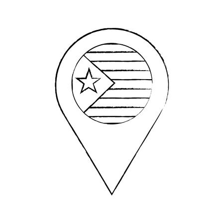 星と縞模様のフラグGPSピンアイコン画像ベクトルイラストデザイン