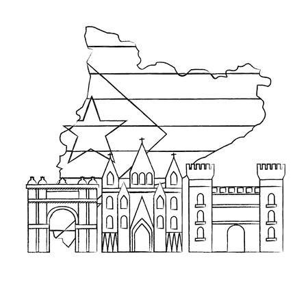 Escudo de catalunya y contorno del país con diseño de ilustración de vector de imagen de icono de puntos de referencia Foto de archivo - 90399697