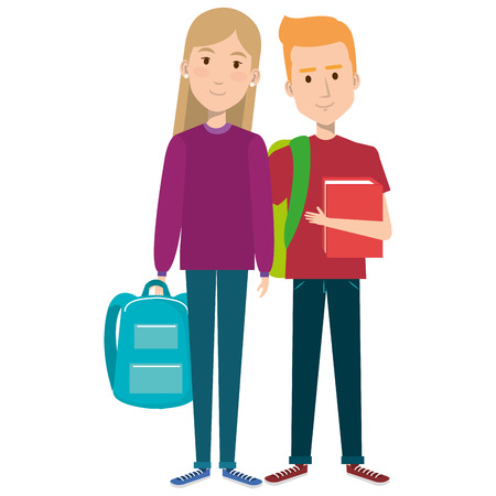 students couple avatars characters vector illustration design