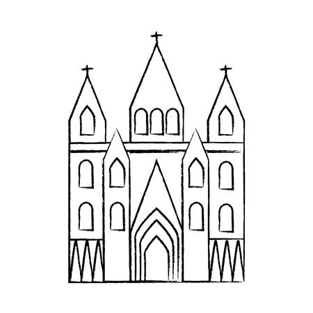 kerk kathedraal pictogram afbeelding vector illustratie ontwerp