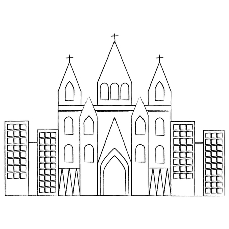 church cathedral in city icon image vector illustration design