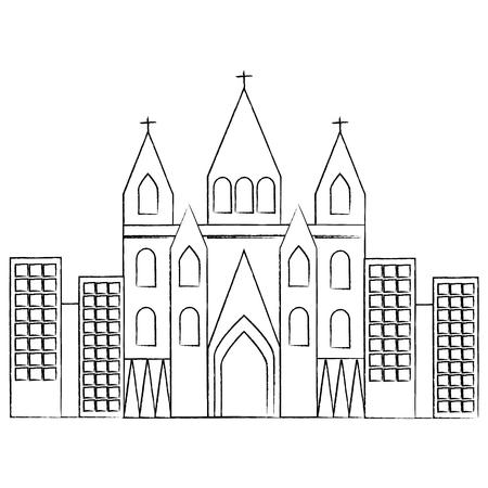 kerk kathedraal in stad pictogram afbeelding vector illustratie ontwerp