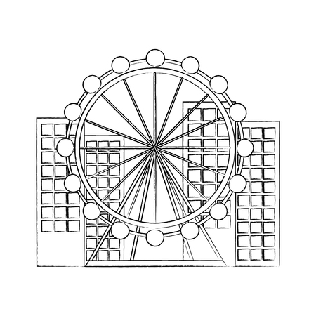 ferris wheel in city icon image vector illustration design Illustration