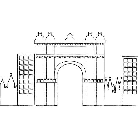 castle building in city icon image vector illustration design Ilustrace