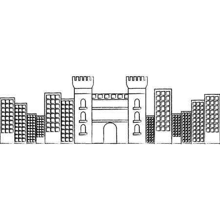 성 건물 도시 아이콘 이미지 벡터 일러스트 디자인