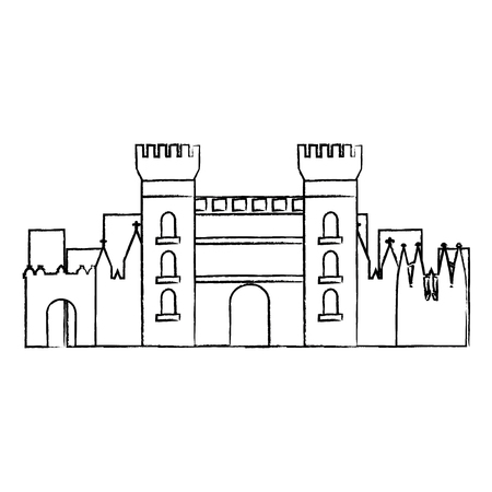 castle building in city icon image vector illustration design