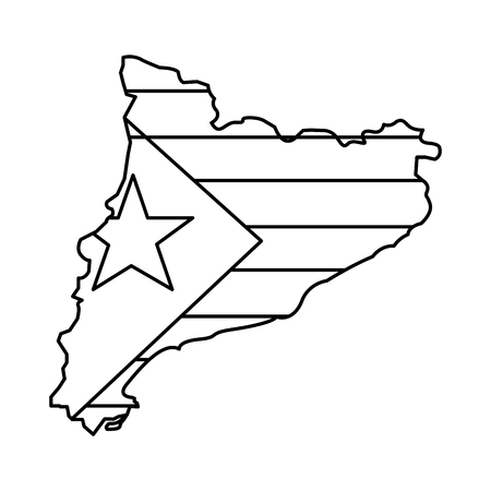 catalunya flag and country outline icon image vector illustration design  일러스트