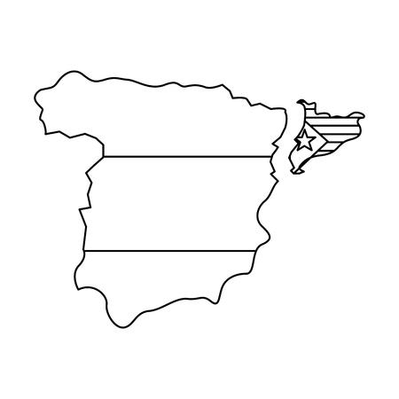 Bandera de Cataluña y contorno del país separados del diseño de ilustración de vector de imagen de icono de España Foto de archivo - 90399982