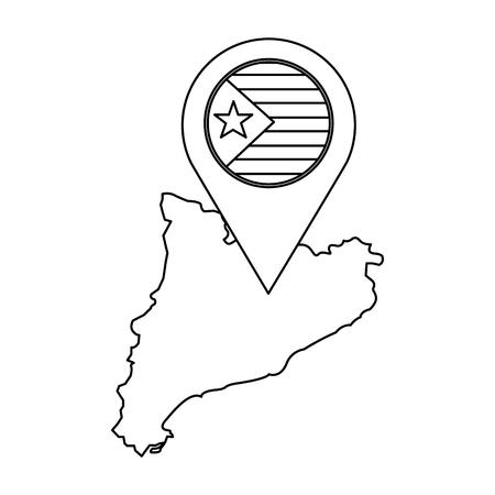 Escudo de catalunya y contorno del país con diseño de ilustración de vector de imagen de icono de pin gps Foto de archivo - 90399996