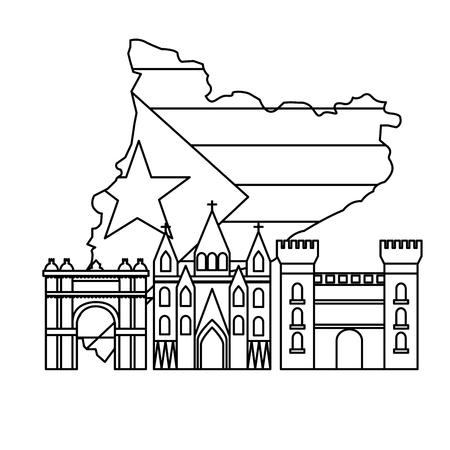Bandeira da Catalunha e contorno do país com o ícone de pontos de referência Foto de archivo - 90400036