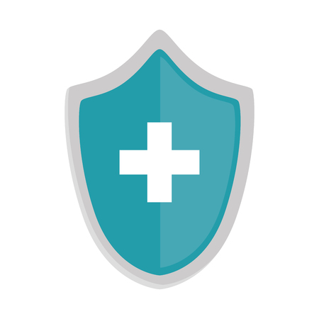 shield with cross icon vector illustration design  イラスト・ベクター素材