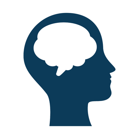 human profile with speech bubble vector illustration design  イラスト・ベクター素材