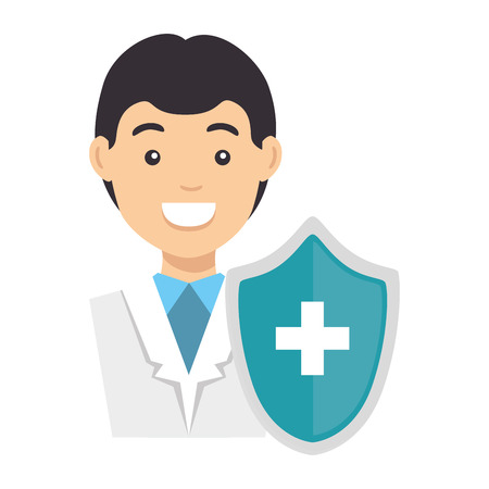doctor character with shield vector illustration design