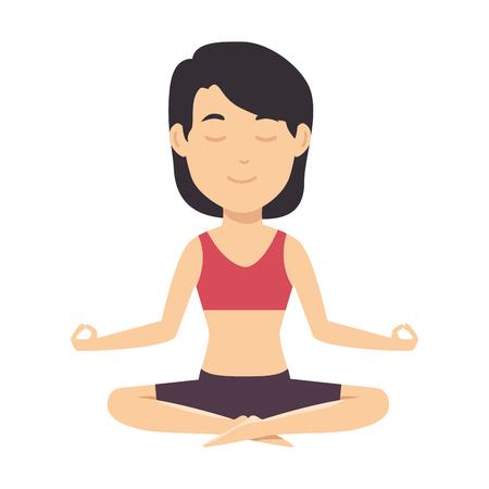 Vrouw beoefenen van yoga karakter vector illustratie ontwerp Stockfoto - 90406646