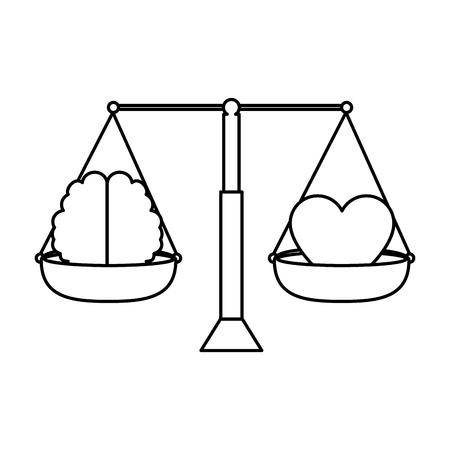 마음과 두뇌 벡터 일러스트 레이 션 디자인과 균형