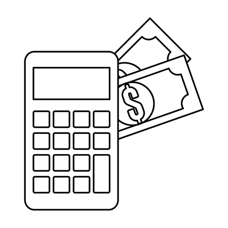 calculator device with dollars vector illustration design