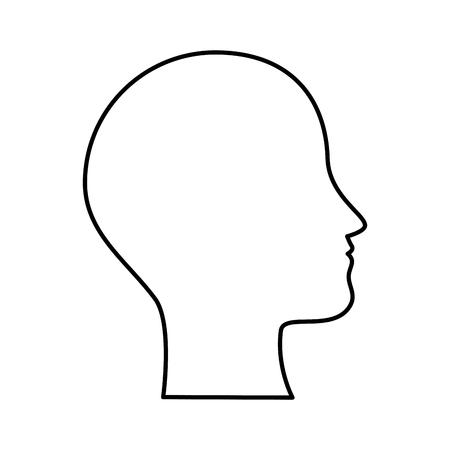 ludzki profil na białym tle ikona wektor ilustracja projekt