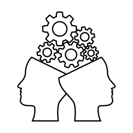 human profiles with gears vector illustration design
