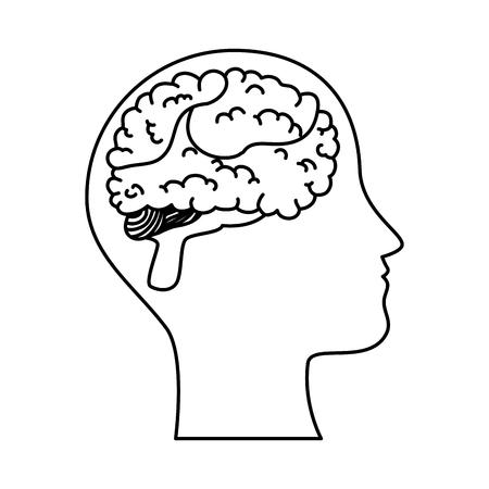 human profile with brain vector illustration design Illustration