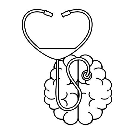 brain with stethoscope medical vector illustration design Vettoriali