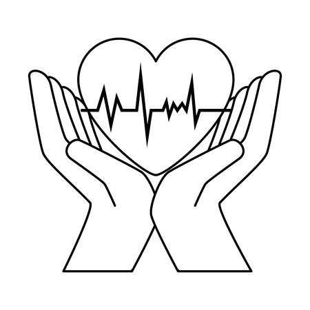 Mains avec le coeur cardio illustration vectorielle conception Banque d'images - 90406693