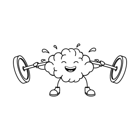 brain with weight lifting character vector illustration design