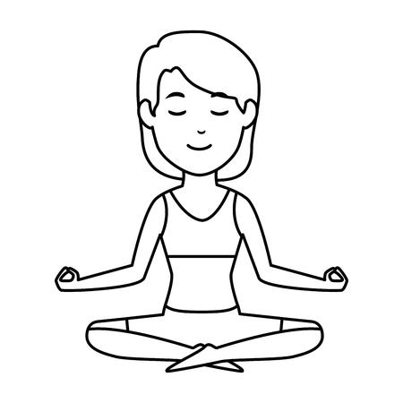donna che pratica progettazione dell'illustrazione di vettore del carattere di yoga