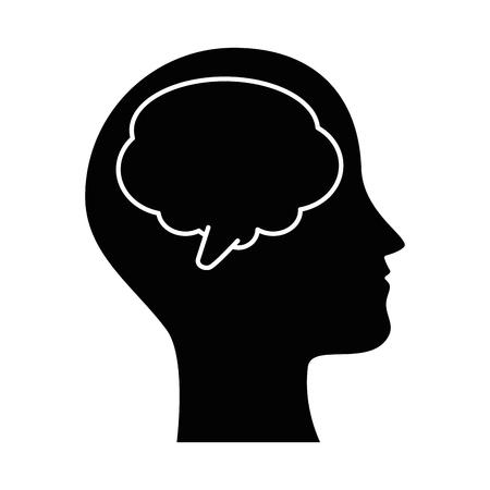 human profile with speech bubble vector illustration design Stock Illustratie