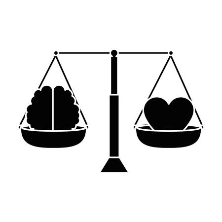 evenwicht met ontwerp van de hart en hersenen vector illustratie Stock Illustratie
