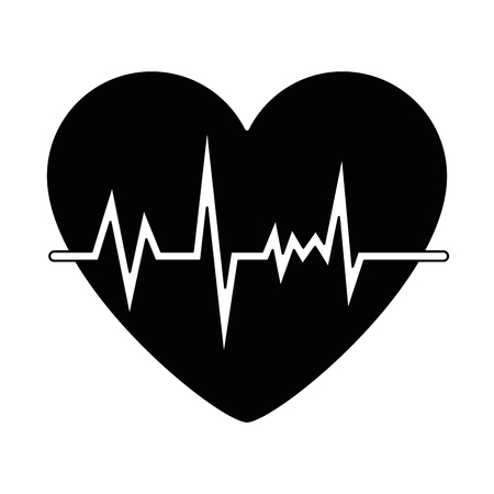 heart with pulse icon vector illustration design Çizim