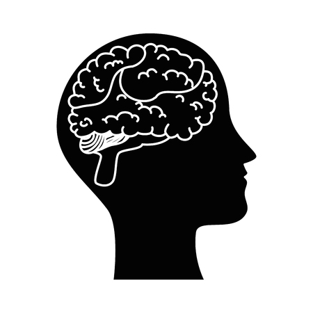human profile with brain vector illustration design 일러스트