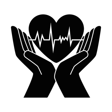 hands with heart cardio vector illustration design