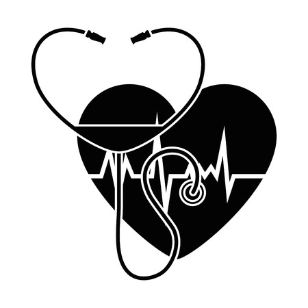 heart with stethoscope medical vector illustration design Illustration