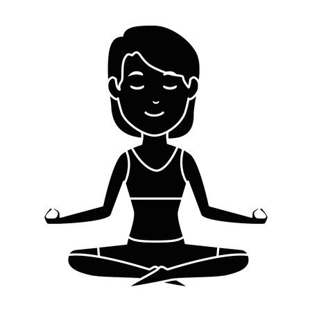 Vrouw beoefenen van yoga karakter vector illustratie ontwerp Stockfoto - 90407188