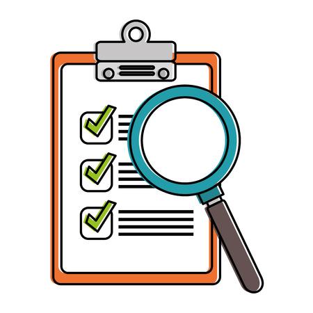 Appunti della lista di controllo con progettazione dell'illustrazione di vettore della lente d'ingrandimento