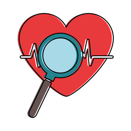 heart cardiology with magnifying glass vector illustration design
