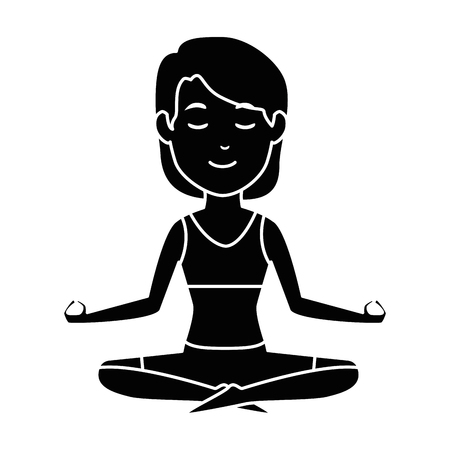 woman practicing yoga character vector illustration design