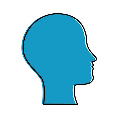 人間プロファイル分離アイコンベクトルイラストデザイン