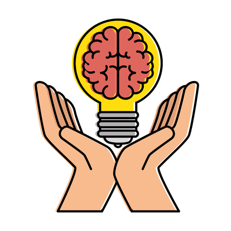 bulb light with brain and hands vector illustration design