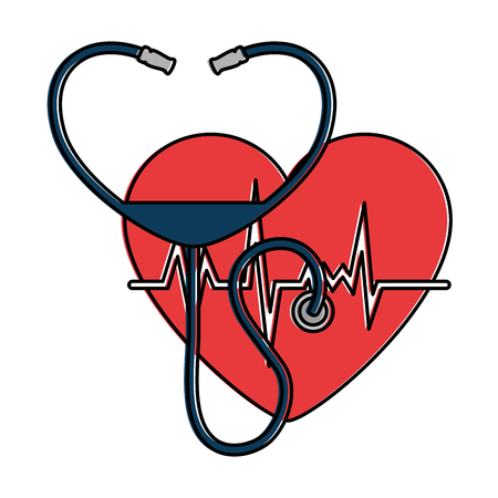 heart with stethoscope medical vector illustration design Illustration