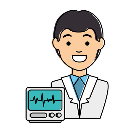 doctor character with ecg machine vector illustration design