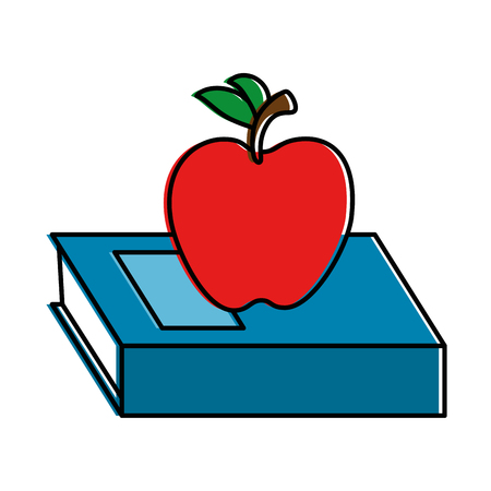 text book with apple vector illustration design Illustration