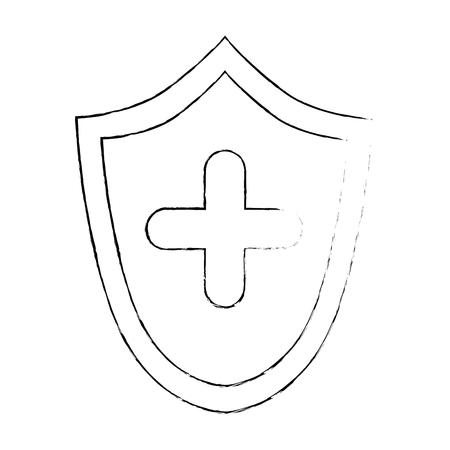 shield with cross icon vector illustration design 向量圖像