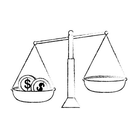 동전 벡터 일러스트 디자인으로 균형 측정 일러스트