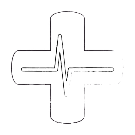 cross with ecg isolated icon vector illustration design
