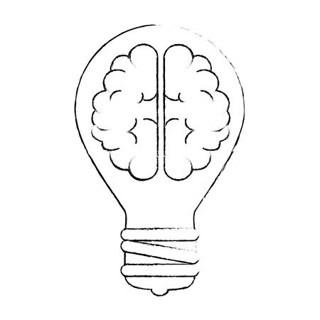 bulb light with brain vector illustration design Vettoriali