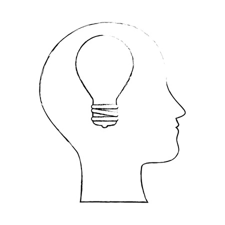 profile with bulb light vector illustration design Illustration