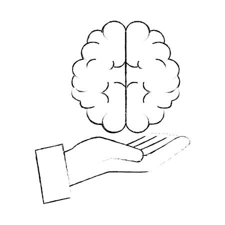 hand human with brain vector illustration design Stock Vector - 90408833