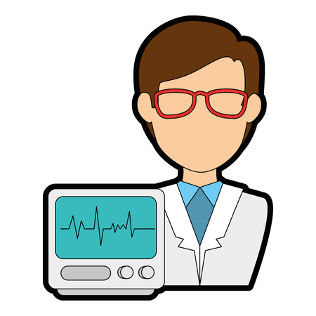 Doctor character with EKG machine vector illustration design